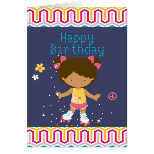 Retro African American Roller Skating Birthday Card