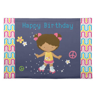 Retro African American Roller Skating Birthday Cloth Placemat