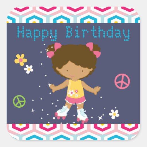 Retro African American Roller Skating Birthday Square Sticker