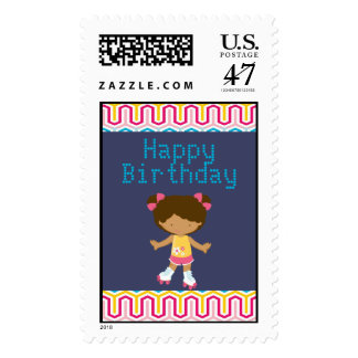 Retro African American Roller Skating Birthday Stamp