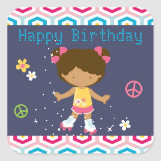 Retro African American Roller Skating Birthday Square Sticker