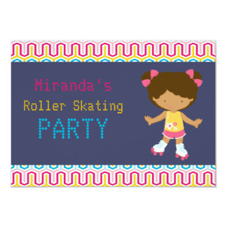 Retro African American Roller Skating Party Personalized Invitation