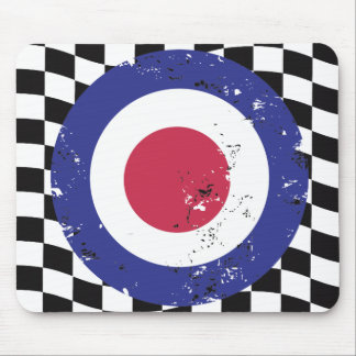 Retro aged mod target on check background mouse pad