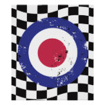 Retro aged mod target on check background posters
