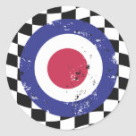 Retro aged mod target on check background round stickers