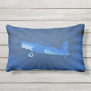Retro Airplane #87 Blue Lumbar Pillow