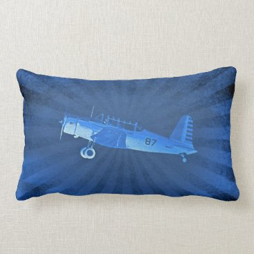 Retro Airplane #87 Blue Lumbar Poly Pillow