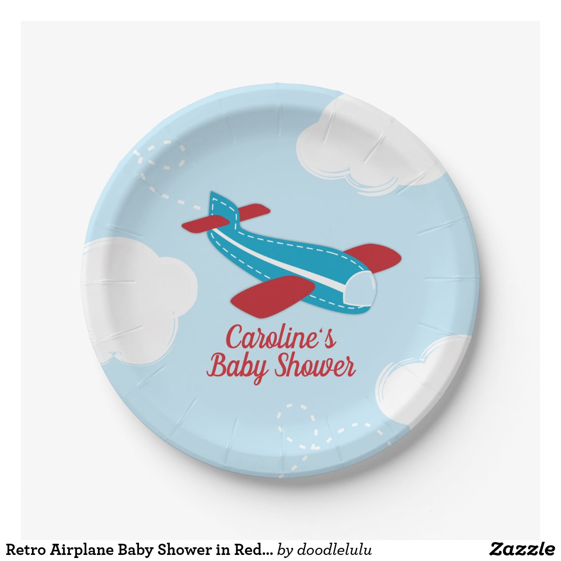 Retro Airplane Baby Shower in Red and Blue Paper Plate