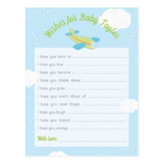 Retro Airplane Baby Shower Wishes for Baby Postcard