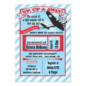 Retro Airplane Baby Shower With Ticket Invitation 5