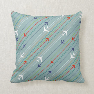 Retro Airplane Pattern Button Throw Pillow