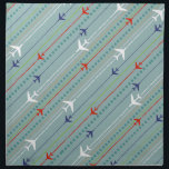 "Retro Airplane Pattern Cloth Napkins<br><div class=""desc"">Fasten your seatbelt. These Retro Airplane Pattern Cloth Napkins are ready for takeoff. The design features lines of red, royal blue, and white, mid century modern airplanes flying across a steel blue background. Thin stripes of orange, lime green and grey, as well as lines of teal dots, add interest to...</div>"