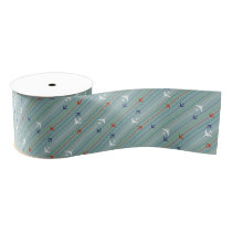 Retro Airplane Pattern Grosgrain Ribbon