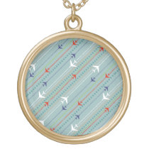 Retro Airplane Pattern Necklace