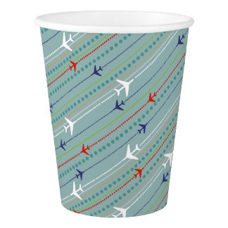 Retro Airplane Pattern Paper Cup