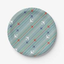 Retro Airplane Pattern Paper Plates