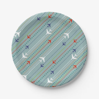 Retro Airplane Pattern Paper Plates