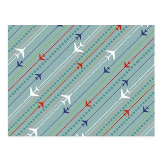 Retro Airplane Pattern Postcard