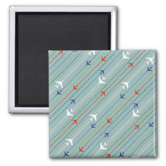 Retro Airplane Pattern Square Magnet
