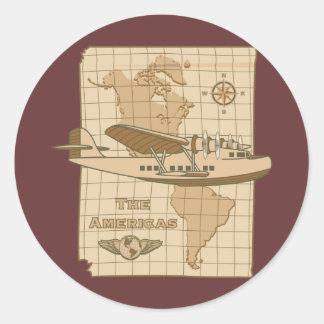 Retro Airplane Round Stickers