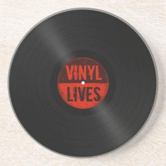 Retro Album Vinyl Lives Drink Coaster