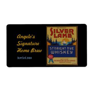 Retro Alcohol Label Silver Lake Whiskey