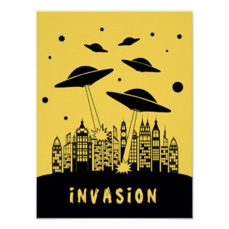 Retro Alien Invasion Poster
