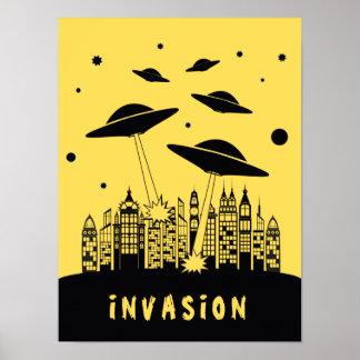 Retro Alien Invasion Poster