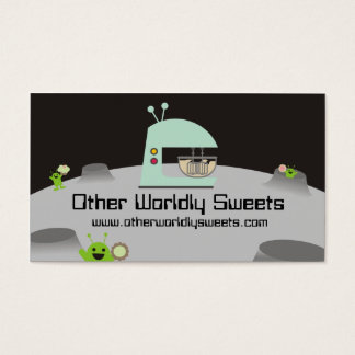 Retro alien stand mixer baking business cards