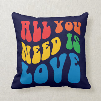 Retro All You Need Is Love Throw Pillow