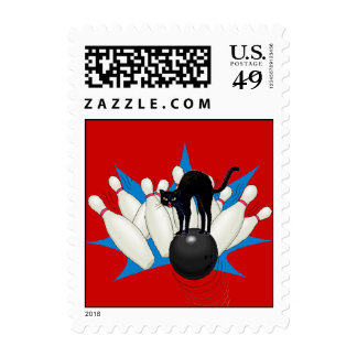 Retro Alley Cat Bowling Ball Strike Stamp STAMPS