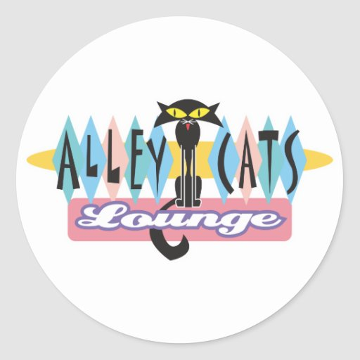 retro alley cats lounge sign classic round sticker
