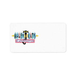 retro alley cats lounge sign address label