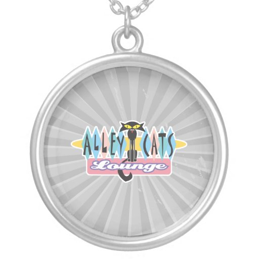 retro alley cats lounge sign round pendant necklace