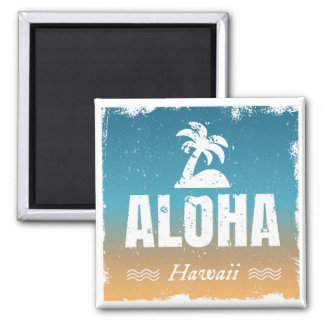 Retro Aloha Hawaii 2 Inch Square Magnet