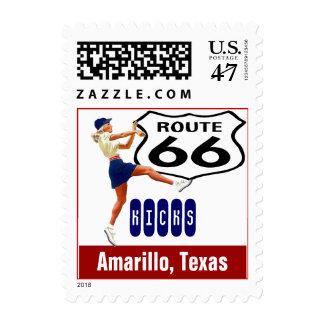 Retro Amarillo Texas Kick Travel Route 66 Vintage Postage Stamp