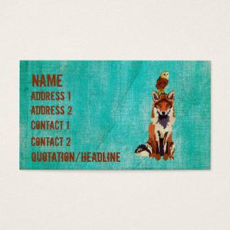 Retro Amber Fox & Owl  Business Card