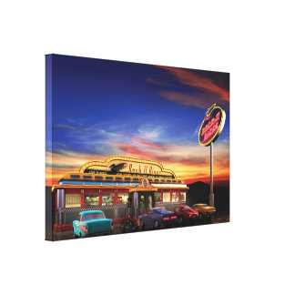 retro american diner wrapped canvas print