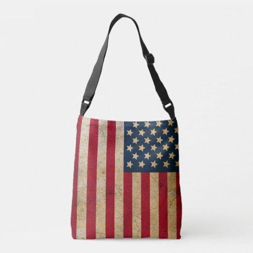Retro American Flag All-Over-Print Cross Body Bag