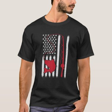 Retro American Flag Bass Fishing Fish Patriotic US T-Shirt