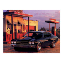 Retro American Muscle Car Postcard