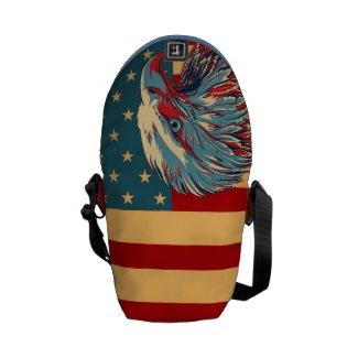 Retro American Patriotic Eagle Flag Messenger Bag