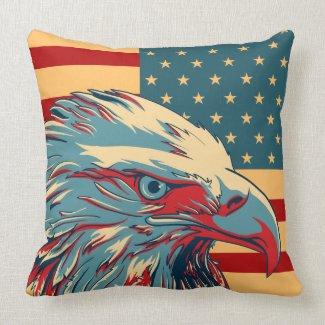 Retro American Patriotic Eagle Flag Pillow