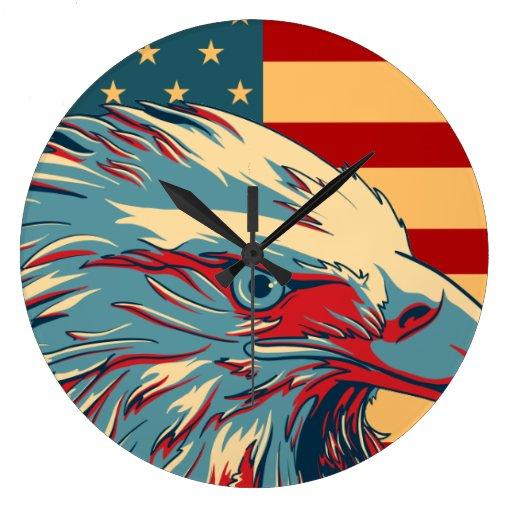 Retro American Patriotic Eagle Flag Wall Clock