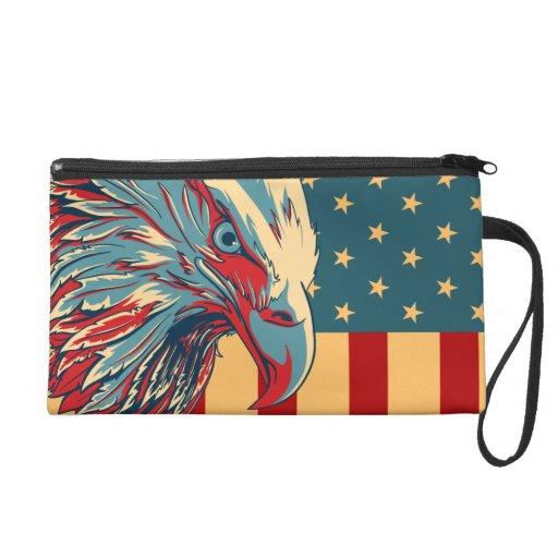 Retro American Patriotic Eagle Flag Wristlet