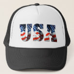 """RETRO AMERICAN TRUCKER HAT - 3D USA Patriotic Cap<br><div class=""""desc"""">AMERICAN TRUCKER HAT USA 3D Logo Patriotic Cap. To change the color of your hat,  simply click the pictures on the right! :)</div>"""