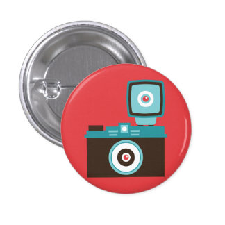 Retro Analog Camera (Brown / Blue) Flair Pinback Button