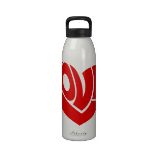 Retro and Groovy Love Heart Text Typography Reusable Water Bottle