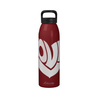 Retro and Groovy Love Heart Text Typography Water Bottles