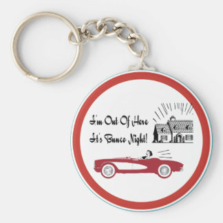 Retro and Vintage Bunco Red Convertible Basic Round Button Keychain